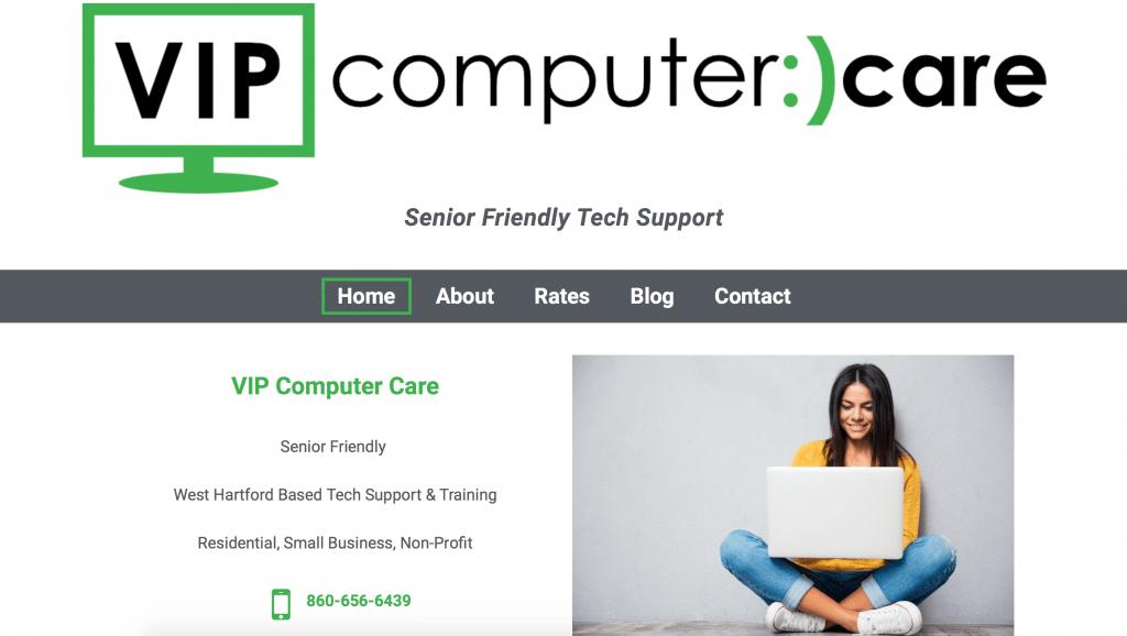 VIP Computer Care Website Screenshot